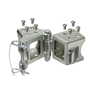 "Fulton Fold-Away Bolt-On Hinge Kit 3"" x 3"" Trailer Beam, Rating 5,000 lbs., 48"" Pivot, Z-Max 600 Zinc Finish"