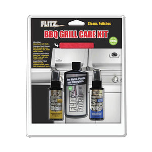 Flitz BBQ Grill Care Kit with Liquid Metal Polish, Stainless Steel Cleaner, Stainless Steel Polish and Microfiber Cloth