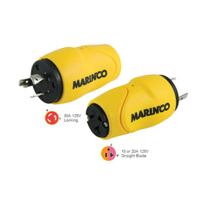 Marinco Straight Adapter, 30A Male - 15A Female