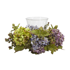 Nearly Natural 4758 Hydrangea Candelabrum Silk Arrangement, Mixed