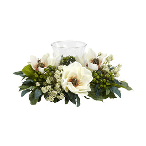 Nearly Natural 4794 Magnolia Candelabrum Silk Flower Arrangement, White