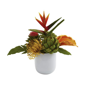 Nearly Natural Tropical Floral Arrangement With White Glass Vase
