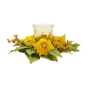"Nearly Natural 4905 Golden Sunflower Candelabrum, Yellow,12"" x 12"" x 8.5"""
