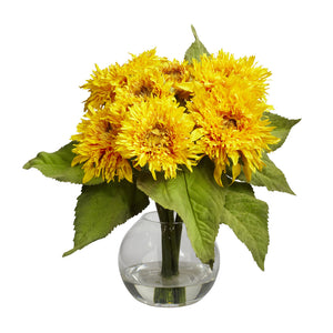 Nearly Natural 4906 Golden Sunflower Flower Arrangement, Yellow