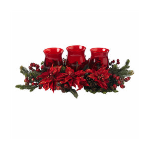 Nearly Natural 4914 Mini Poinsettia & Berry Triple Candelabrum