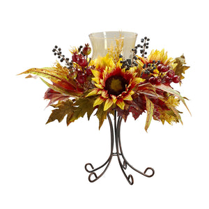 Nearly Natural 4933 Sunflower Candelabrum, Yellow