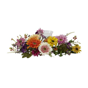 Nearly Natural 4937 African Sunflower Candelabrum, Multicolored/Orange