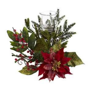 Nearly Natural 4951 Poinsettia Candelabrum, Green