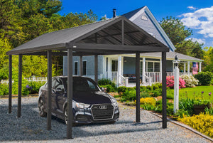 Sojag 20' x 12' Samara Carport with Aluminum Frame and 10' High Galvanized Steel Roof for Easy Drive Through Access, Gray