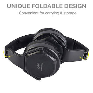 CableWholesale Bluetooth Wireless Headphone flip Speaker, 2 in 1, with AUX Input and Micro SD Card Port. Includes Built-in Microphone for Phone Calls.