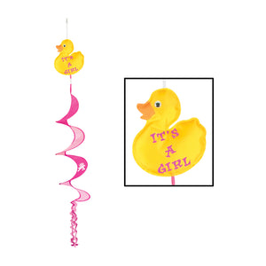 Beistle - 50740 - Just Duckie Its A Girl Wind-Spinner- Pack of 12