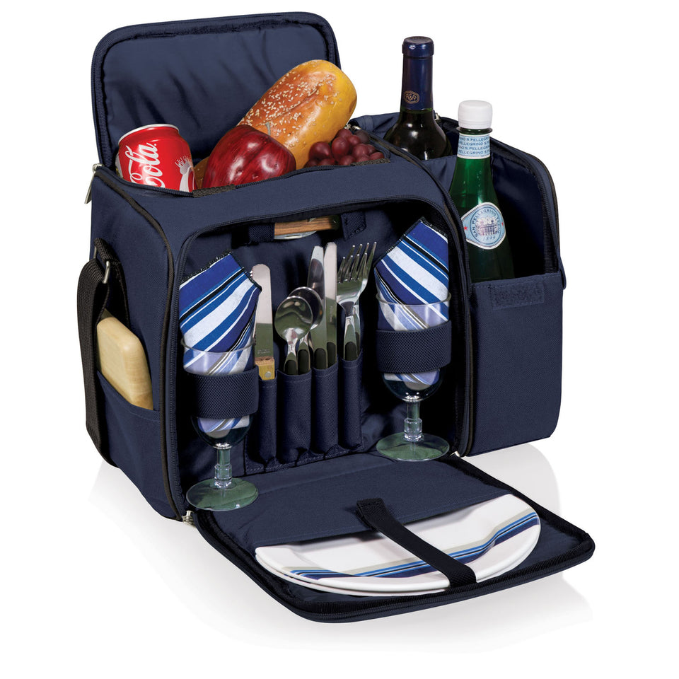 Malibu Picnic Tote - Navy with Blue and Grey Stripe