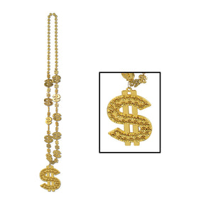 "Casino ""$"" Beads with ""$"" Medallion - 33 inch Case Pack 12"