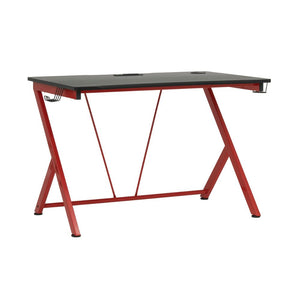 Studio Designs Quest PC Gamer Computer Desk with Charging Station, Cup and Headphone Holder in Racing Red Metal Legs/Black Top