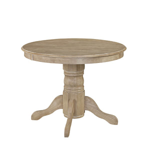 "Homestyles Classic Traditional Design Claire Dining Table with 8 1/4"" Thick Carved Pedestal Base - White, Brown"