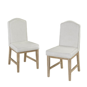 Homestyles Set of 2 Linen and Polyester Blend Woven Upholstered Claire Dining Chair - White, Brown