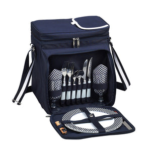 Equipped Picnic Cooler For Two - Blue