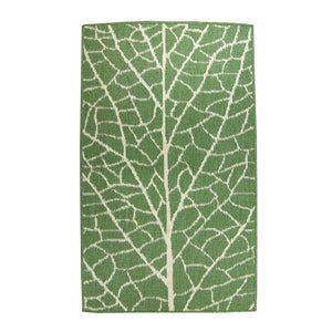 Leaf 94x94 Round Outdoor Reversible Rug Green/Natural