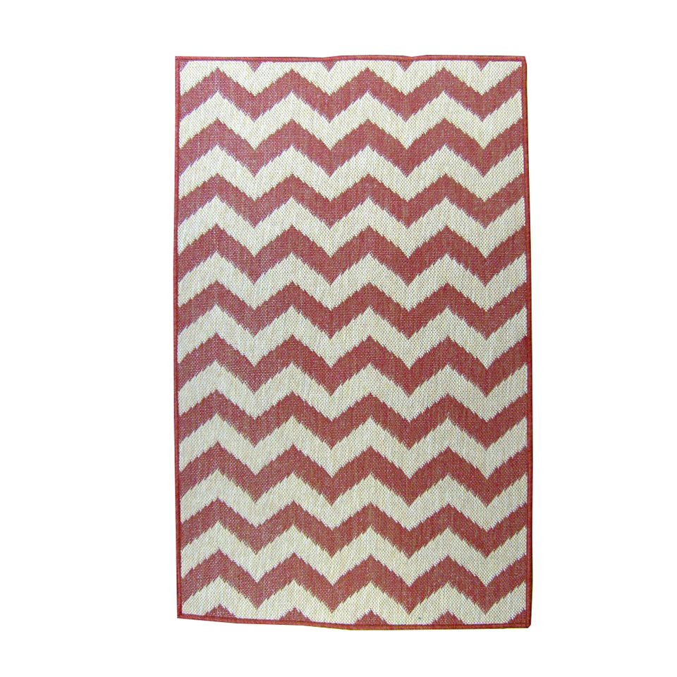 Chevron 94x94 Round Outdoor Reversible Rug Terracotta/Natural