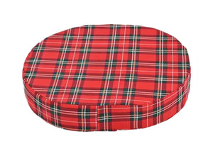 "Molded Donut Cushion 14"" Red Plaid"