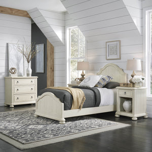 Homestyles French Farmhouse Design Chambre Twin Bed, Nightstand and 3-Drawer Chest - White