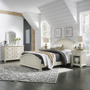 Homestyles French Farmhouse Design Chambre Queen Bed, Nightstand and Dresser with Mirror - White