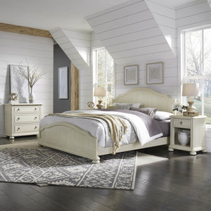Homestyles French Farmhouse Design Solid Wood Chambre King Bed, Nightstand and 3-Drawer Chest - White