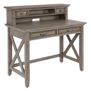 "Homestyles Rustic Casual ""X"" Frame Design Solid Wood Walker Desk with Hutch, 2 Lap Drawers and Antique Nickel Finished Pulls - Gray"