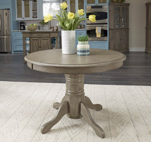 Homestyles Rustic Casual Design Solid Wood Walker Dining Table with Carved Pedestal Base - Gray