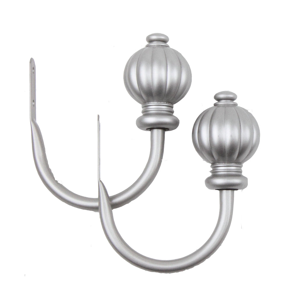 Rod Desyne Home Decorative Window Accessories Pumpkin Finial Holdback Pair Satin Nickel