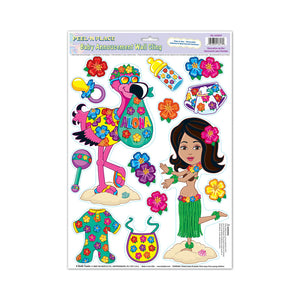 "Hula Baby Peel 'N Place 12"" x 17"" Sheet - 12 Pack (14/Sheet)"