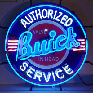Buick neon sign with silkscreen backing