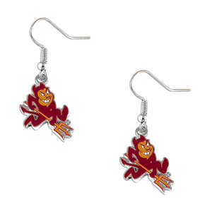 "Arizona State Sun Devils Silver Dangle ""Sparky\"" Logo Earring Set NCAA Charm Gift"
