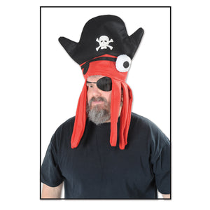 Beistle Pirate Party Felt Squid Hat - 12 Pack(1/Card) Black,red