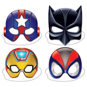 "Deluxe Hero Masks 8""-10""- 12 pack(4/Pkg)"