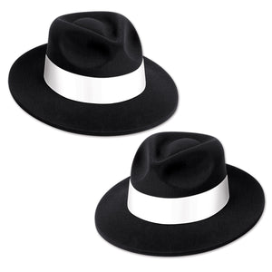 Beistle Great 20's Costume Party Black Velour Fedora with Band - 25 Pack