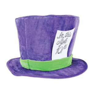 Beistle Plush Mad Hatter Hat (1/Poly Bag) - 12 Pack