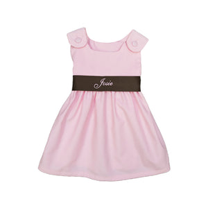 Corduroy Sash Dress-Pink/Brown