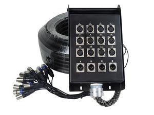 Monoprice 16-Channel XLR Snake and 12x4 Stage Box -98 feet (30 Meters)