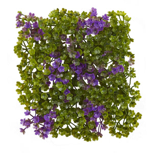 "Nearly Natural 6"" x 6\"" Purple & Green Clover Mat (Set of 12)"