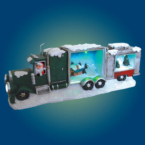 "Santa Claus Driving Trailer Truck Big Rig with LED Light Christmas Holiday Decor Figurine Polyresin 19.75"" inch"