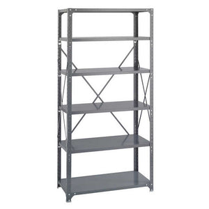 Safco 6269 Commercial Steel Shelving Unit Six-Shelf 36w x 18d x 75h Dark Gray