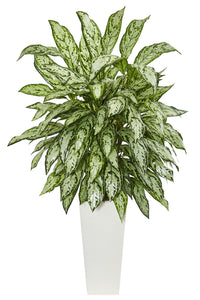 Nearly Natural Artificial Silver Queen Plant in White Tower Planter, Green