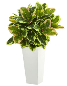 Nearly Natural Artificial (Real Touch) Variegated Rubber Plant in White Tower Planter, Green