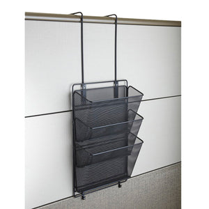 Safco Products 6452BL Onyx Mesh Panel Organizer, Triple Basket, Black