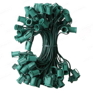 "100' C7 Christmas Light Socket Set - 12"" Spacing 18 Gauge Green Wire"