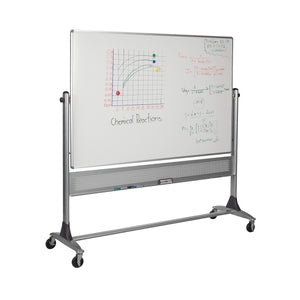 Best-Rite 669RG-DC Platinum Mobile Reversible Whiteboard & Bulletin Easel, 4 x 6 Feet Panel Size, Porcelain Steel Markerboard & Natural Cork Tack Surface
