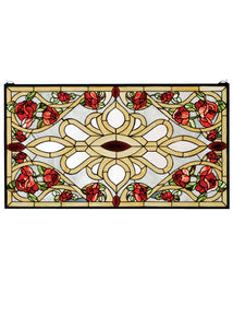 "Meyda Home Indoor Decorative Lighting Accessories 36""W X 20""H Bed Of Roses Stained Glass Window"