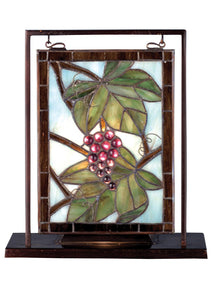 "Meyda Tiffany 68352 Leaf, Flower, Fruit Mini Tabletop Window from Napa Vintage Collection in Craftsman Brown Finish, 5.00 inches, 9.5"" Width x 10.5"" Height"