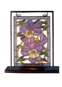 "Meyda Home Indoor Decorative Lighting Accessories 9.5""W X 10.53""H Pansies Lighted Mini Tabletop Window"